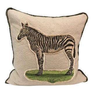 Safari Linen & Cotton Applique Quilted Zebra Pillow For Sale