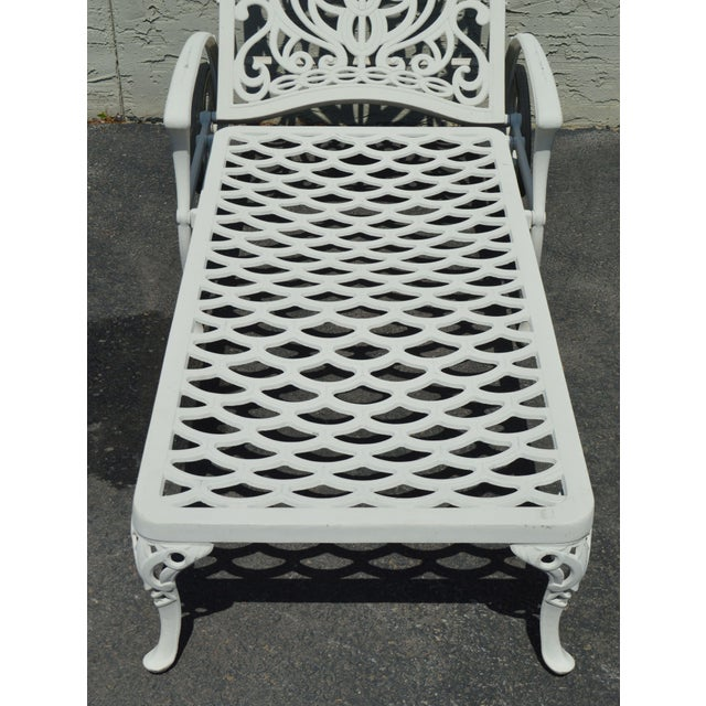 Quality Pair Cast Aluminum Patio Chaise Lounges For Sale - Image 9 of 13