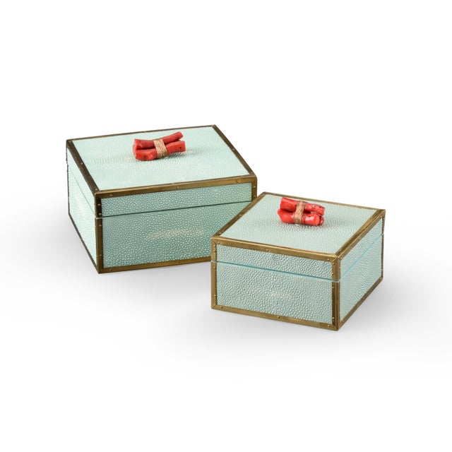 A pair of Coral Boxes - Seamist. Beautiful colors and design!