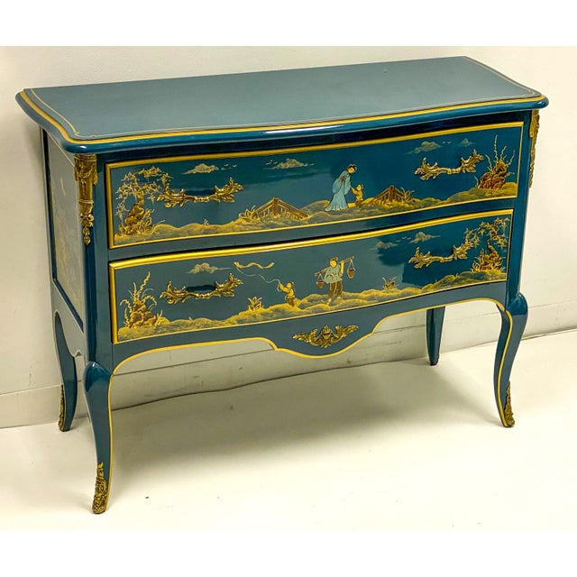 1970s Cerulean Blue Lacquer & Gilt Bronze Chinoiserie Chest Att. Century For Sale - Image 5 of 8