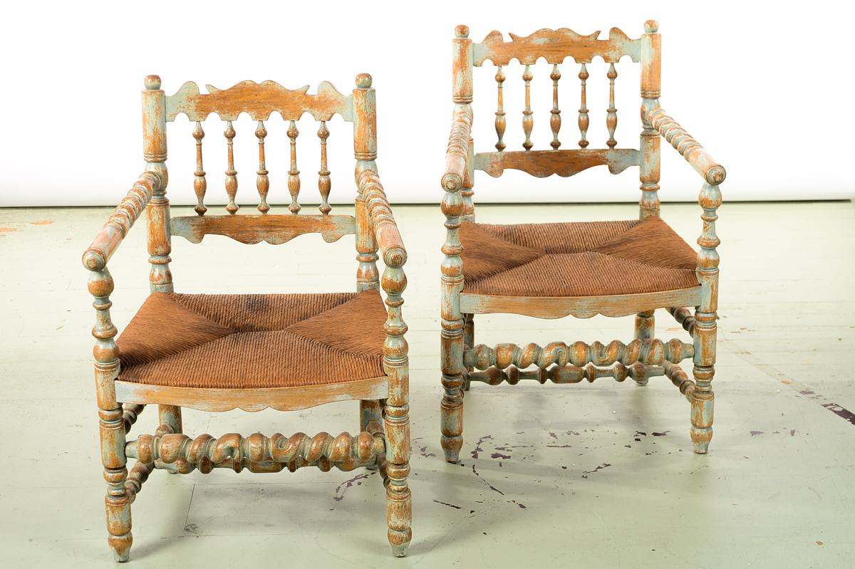 19th Century Antique Farm Arm Chairs W/Carved Spindles A Pair   Image 2