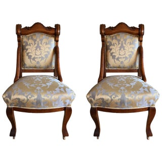 Pair of 19th Century Carved Walnut Chairs For Sale