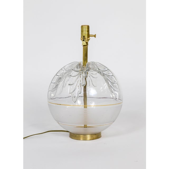 Late 20th Century Late 20th Century Spherical Pressed Glass Oak Leaf & Brass Lamp For Sale - Image 5 of 8