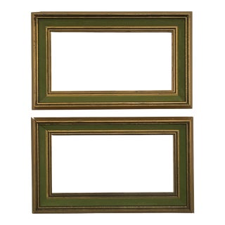 1960s Brutalist Gold and Black Wood Green Velvet Border Frames - a Pair