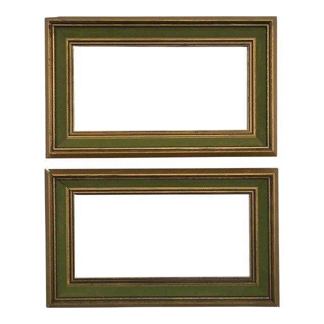 1960s Brutalist Gold and Black Wood Green Velvet Border Frames - a ...