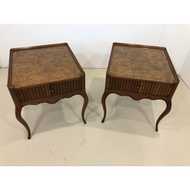 Vintage Baker Furniture Mahogany and Burl Wood Side Tables - Pair For Sale - Image 12 of 12