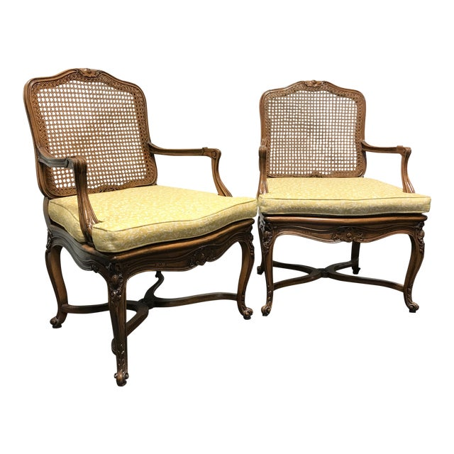 Carved French Style Open Armchairs with Cane Backs - A Pair - Image 1 of 11