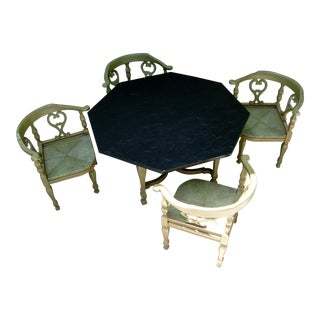 Mid-Century Slate Top Table Dining Set For Sale