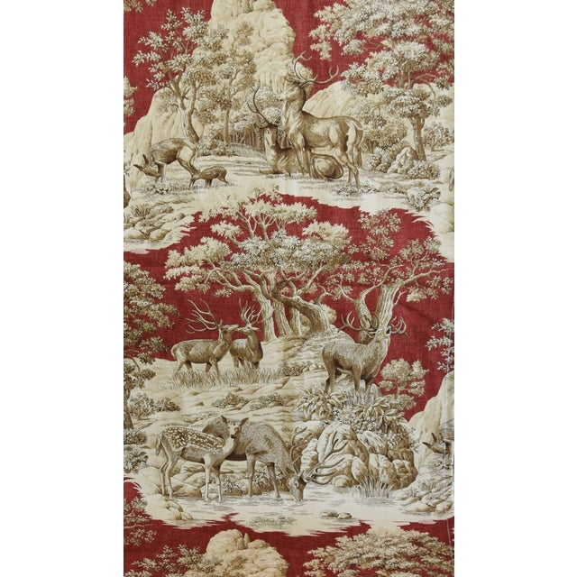 "Custom Woodland Nature Deer & Fawn Toile Table Runner 110"" Long For Sale - Image 4 of 7"