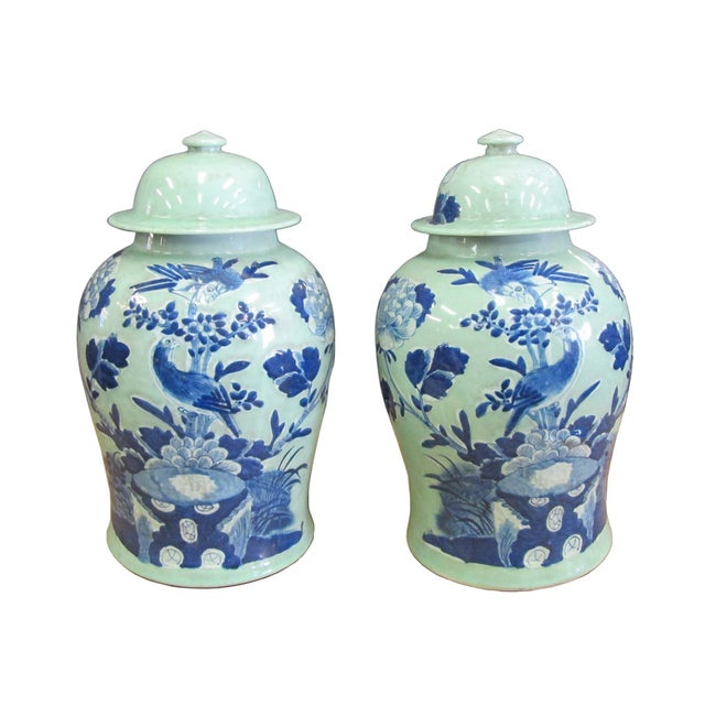 Chinese Blue Porcelain Temple Jars - A Pair - Image 1 of 4