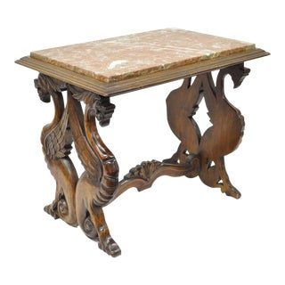 Antique Carved Walnut Figural Winged Griffin Marble Top Table Rj Horner Style