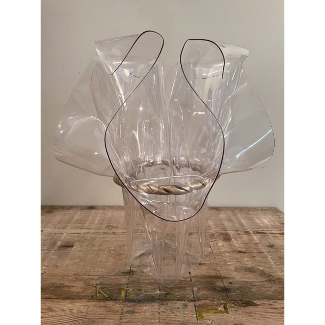 1970s Handkerchief Lucite Planter Vase With Gilt Bow For Sale In New Orleans - Image 6 of 7