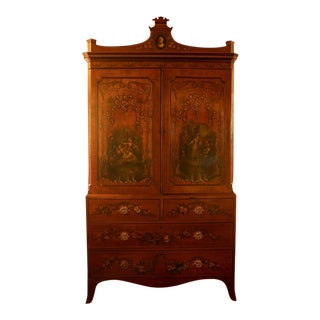 French Hand Painted Armoire 1890-1900's For Sale