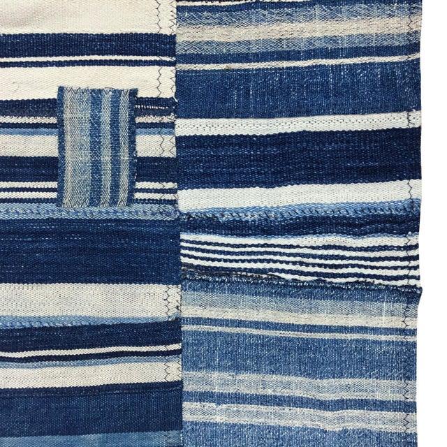 Vintage Indigo Mudcloth Flag, Shibori Denim Patchwork, Blue For Sale - Image 4 of 5