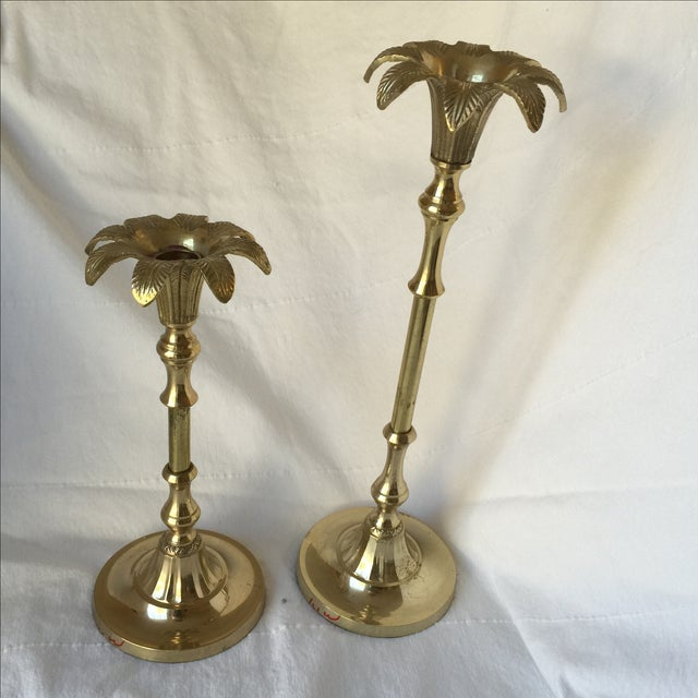 Brass Palm Tree Candle Holders - Pair - Image 2 of 9