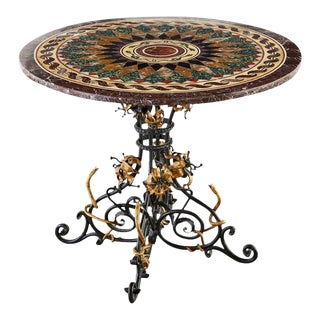 Italian Neoclassical Style Pietra Dura Marble Centre Table For Sale