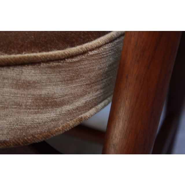 Textile Set of Six W.H. Gunlocke Sculptural Walnut Armchairs For Sale - Image 7 of 10