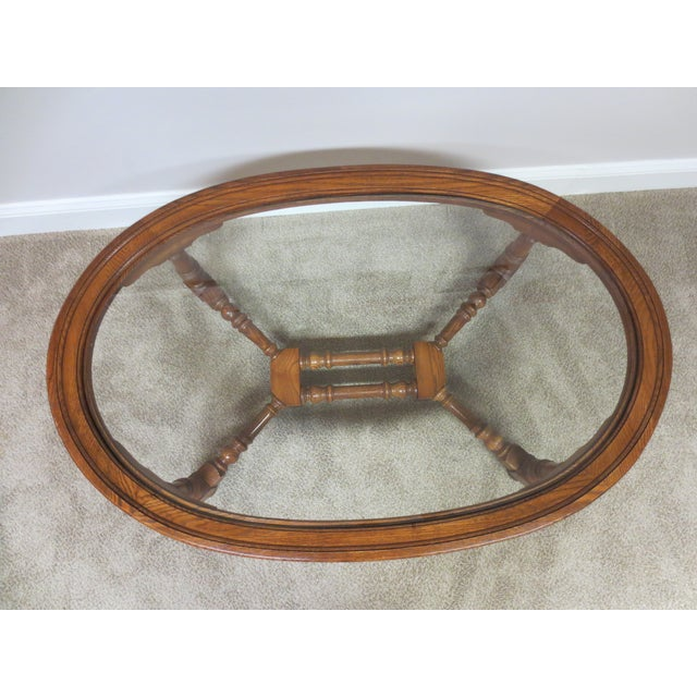 Pennsylvania House Oak & Glass Coffee Table - Image 3 of 7