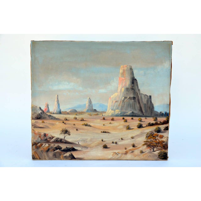 Monument Valley Oil on Canvas, Circa 1930. Signed J. J. Moreno.