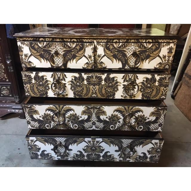 Wallpapered Antique Chest For Sale - Image 4 of 9