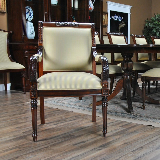 Carved Empire Upholstered Arm Chair - a Pair For Sale - Image 11 of 13