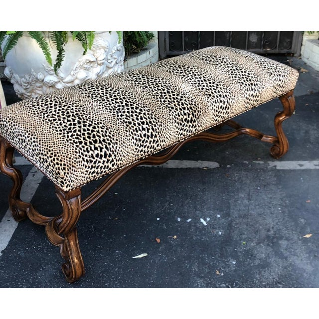 Italian Clarence House Cheetah - 18c Style Carved Italian Walnut Bench by Randy Esada Designs for Prospr For Sale - Image 3 of 4