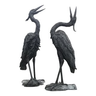 Crane Bronze Sculptures - A Pair