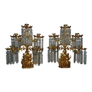 1840s Cornelius & Co. Daniel Girandoles Candelabra Boone & the Last of the Mohicans Motif Antique Gilt Brass - a Pair For Sale