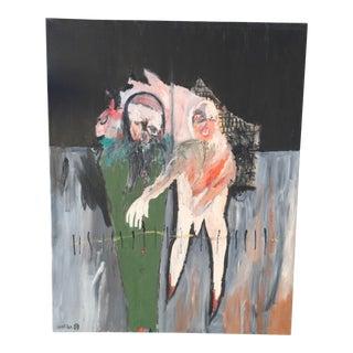 Original Modern Expressionist Oil Painting - Edgewalk by Michael Hafftka For Sale