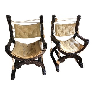 19th Century Savaranola Armchairs - a Pair