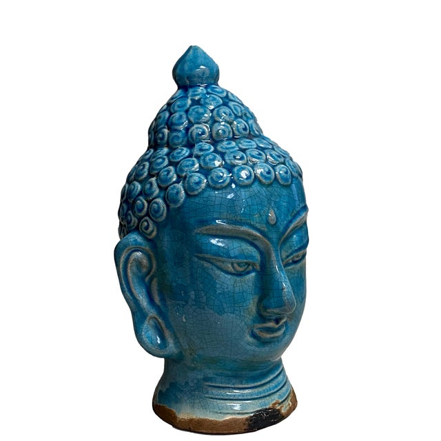 Early 20th Century Blue Glazed Buddha Head For Sale - Image 12 of 12