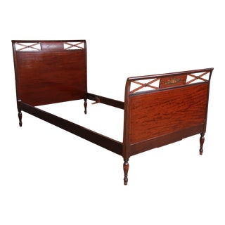 Antique Widdicomb Carved Mahogany Twin Size Bed, Circa 1920s For Sale