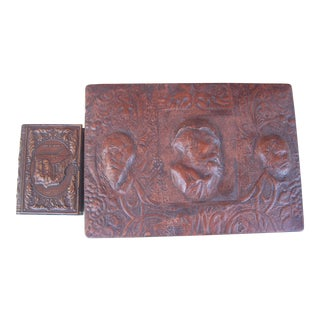 Vintage Embossed Leather Smoker's Box & Matchbox - A Pair For Sale