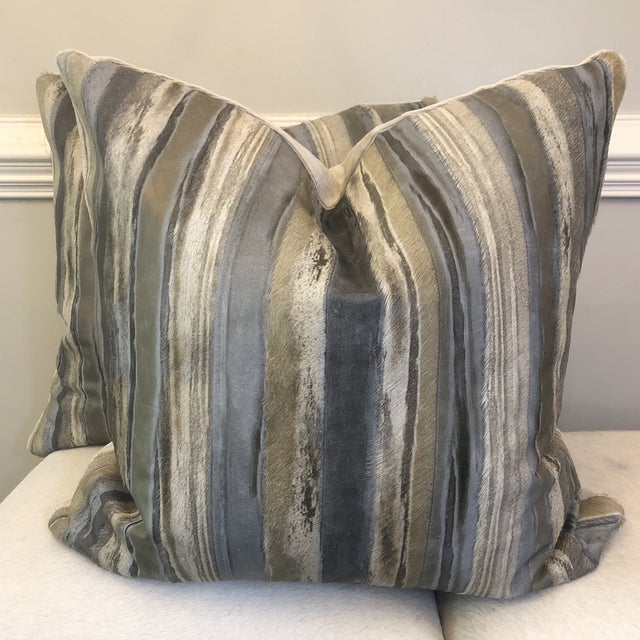 """Blue Moore & Giles """"Valentino"""" Leather 22"""" Pillows-A Pair For Sale - Image 8 of 8"""