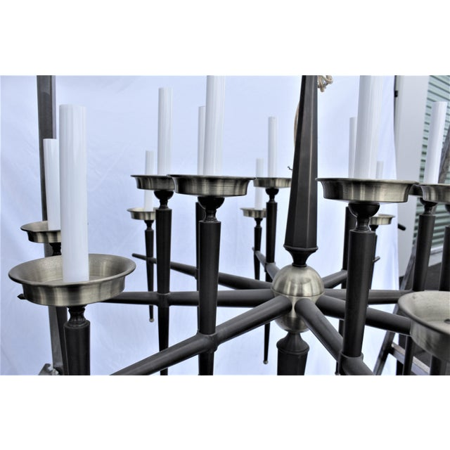 Mid Century Modern Brass Chandelier Solid Brass Bronze Patina For Sale In Los Angeles - Image 6 of 11