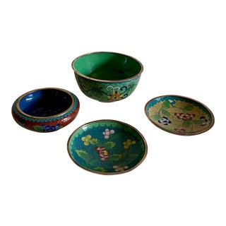 Vintage Cloisonné Trinket Dishes and Bowl - Collection of 4 For Sale