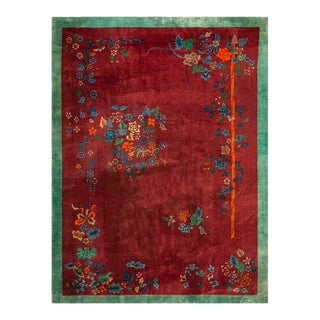 "1920s Antique Chinese Art Deco Rug- 9'0"" X 11'8"" For Sale"