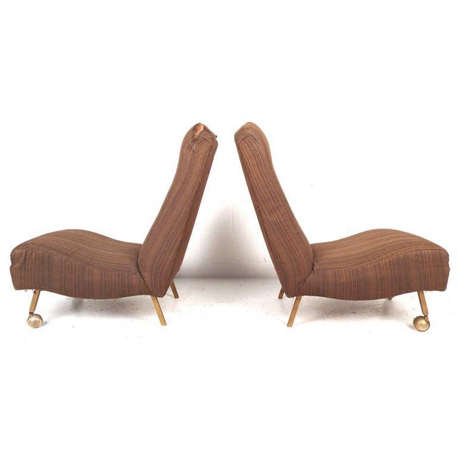Mid-Century Modern High Back Slipper Chairs - A Pair - Image 3 of 9