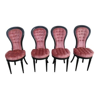 Hollywood Regency Painted Black Four Dining Chairs 2128 For Sale