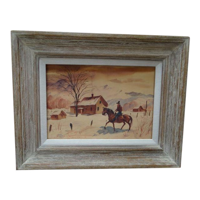 Charles Payzant Double-Sided Western Watercolor For Sale
