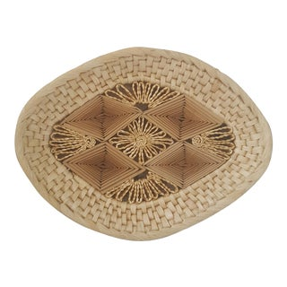 Boho Chic Natural Woven Raffia Basket Tray For Sale