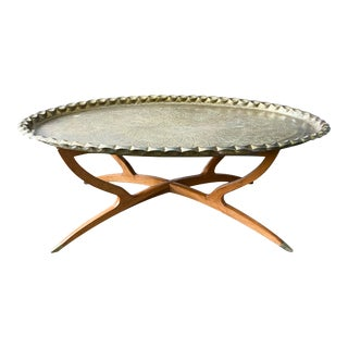 Mid Century Modern Oval Brass Moroccan Tray Table For Sale