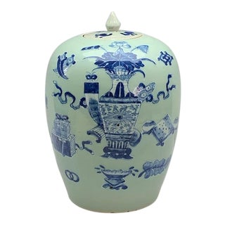 Mid 19th Century Chinese Blue and White Enamel on Celadon Ginger Jar With Auspicious Objects For Sale