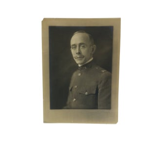 """1919 Antique """"World War 1 Army Officer"""" Bacharch Black & White Photograph For Sale"""
