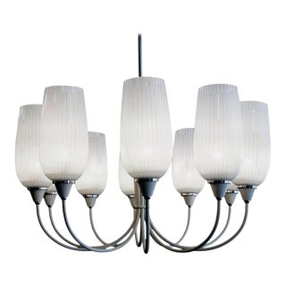 Italian 10 Arm Metal and Glass Chandelier Attributed to Gio Ponti C. 1950s For Sale