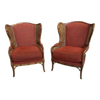 Ethan Allen Regency Faux Bamboo & Cane Wingback Chairs - a Pair For Sale