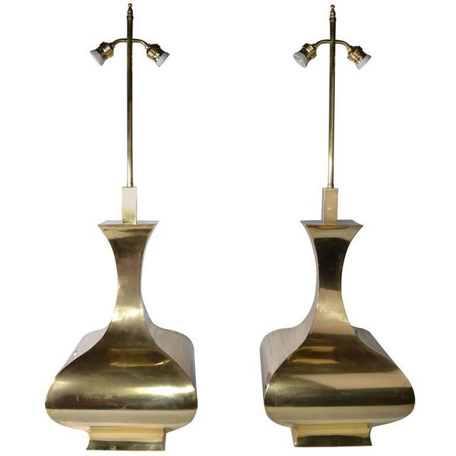Tall Solid Brass Vessel Shape Table Lamps, a Pair - Image 2 of 10