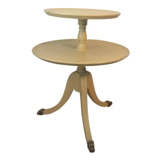 Vintage Mahogany Two Tiered Round Clawfoot Table For Sale
