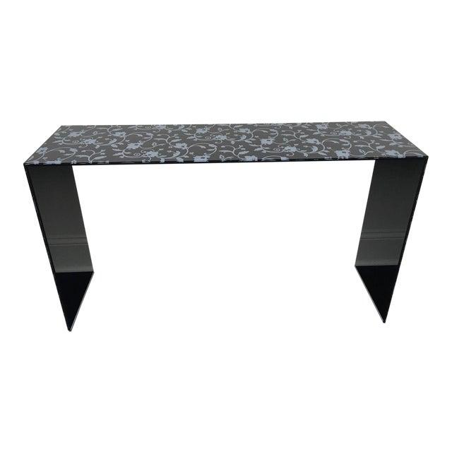 Contemporary Glas Italia Black Lacquered Glass Console Table Chairish