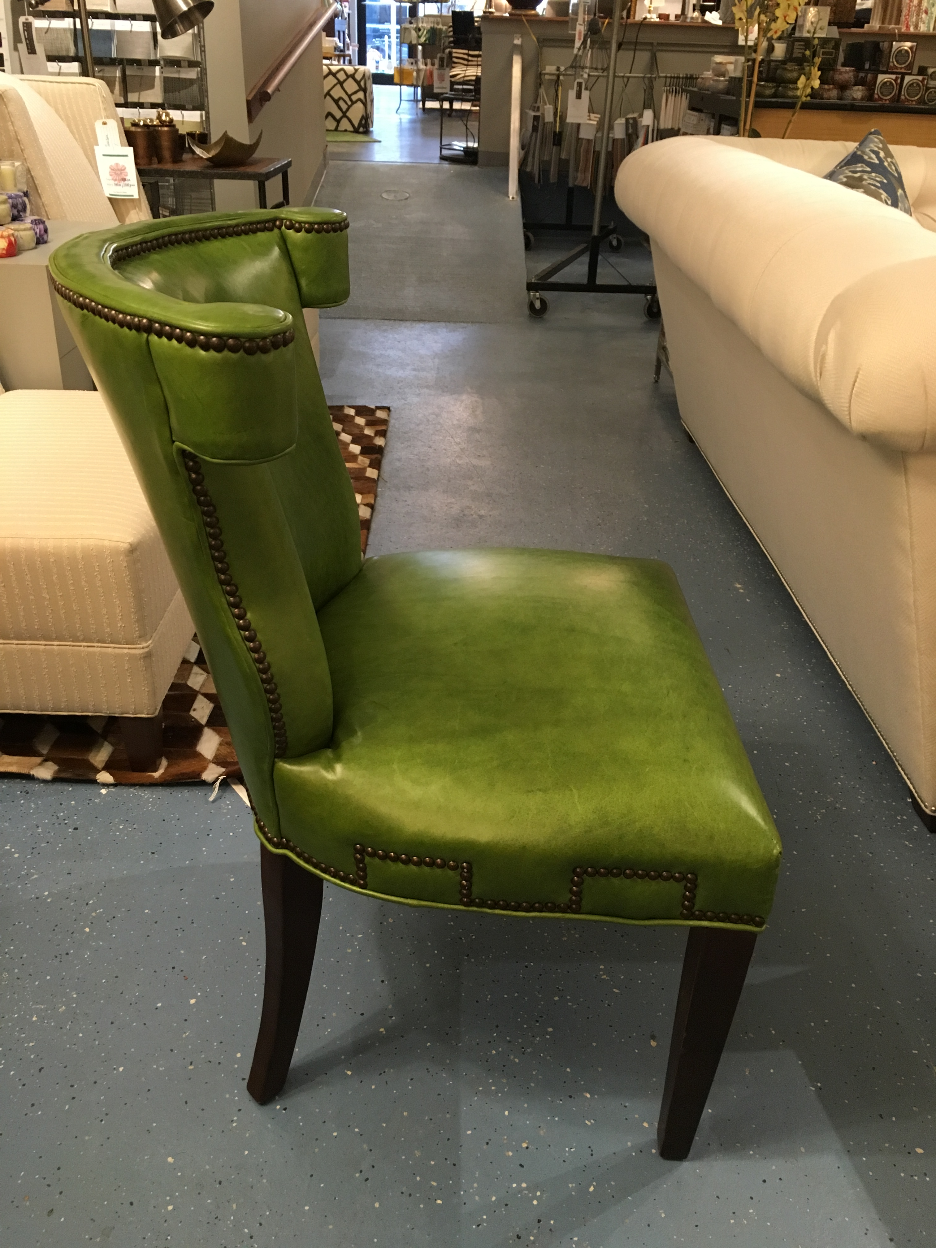 CR Laine Green Leather Desk Chair   Image 3 Of 9